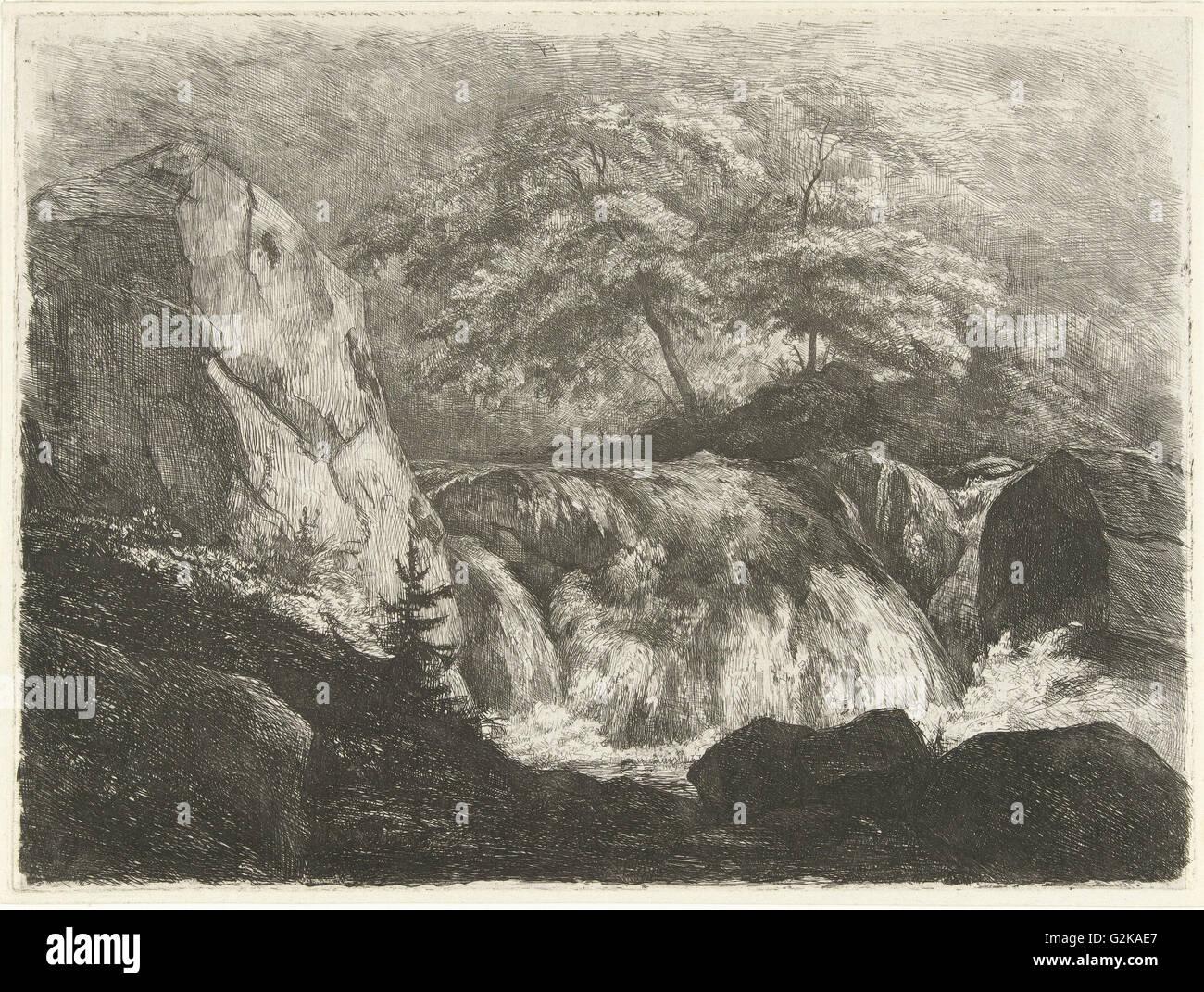 Paysage rocheux avec cascade, Pierre Louis Dubourcq, 1830 - 1858 Photo Stock