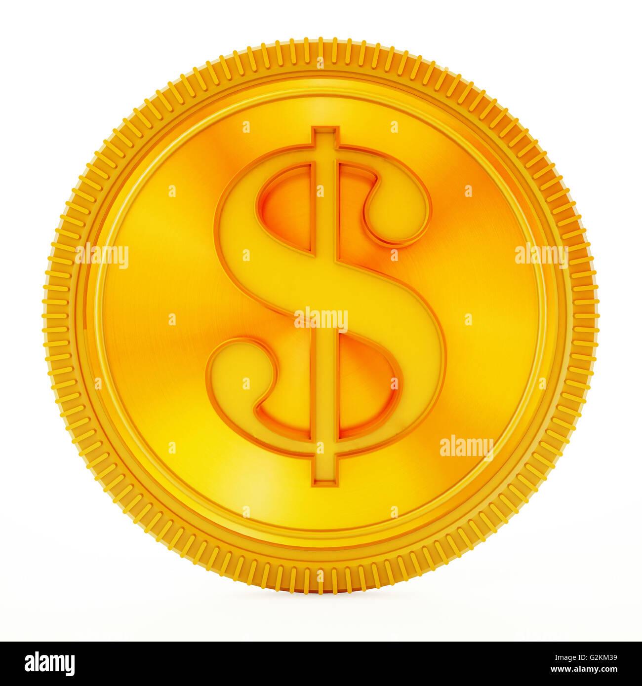 Pièce d'or avec le symbole dollar isolé sur fond blanc. Photo Stock