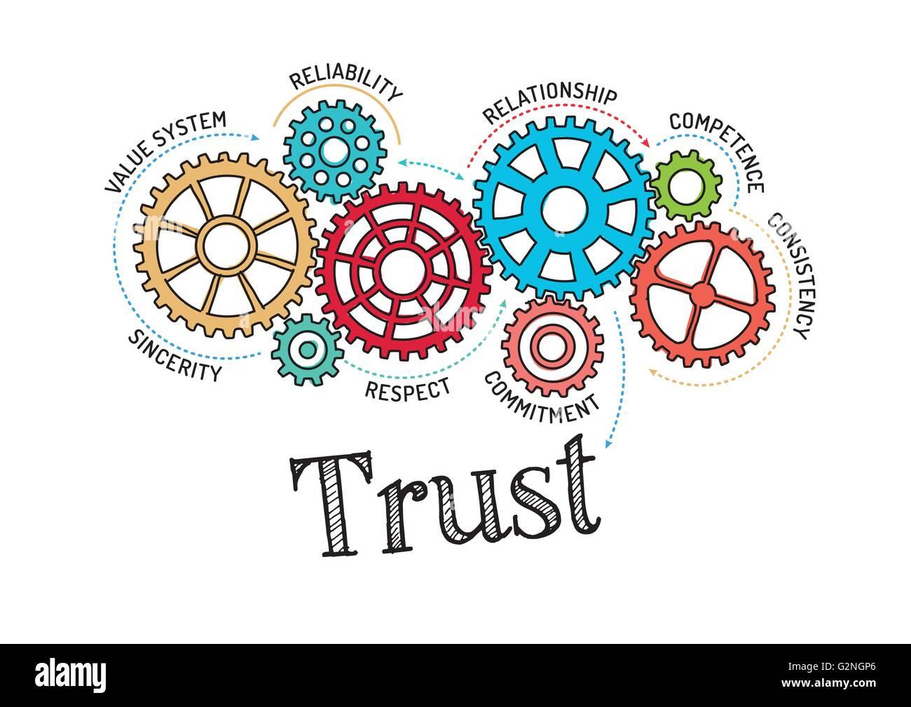 Mécanisme de fiducie et pignons Photo Stock