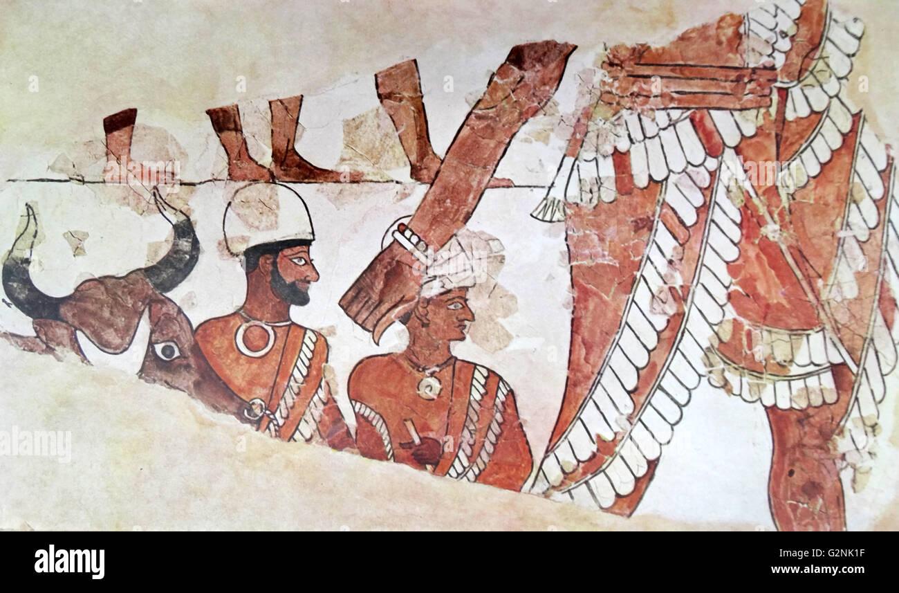 La Mésopotamie: Palais de Mari. Partie d'une scène sacrificielle, restauré par Paul François, Photo Stock