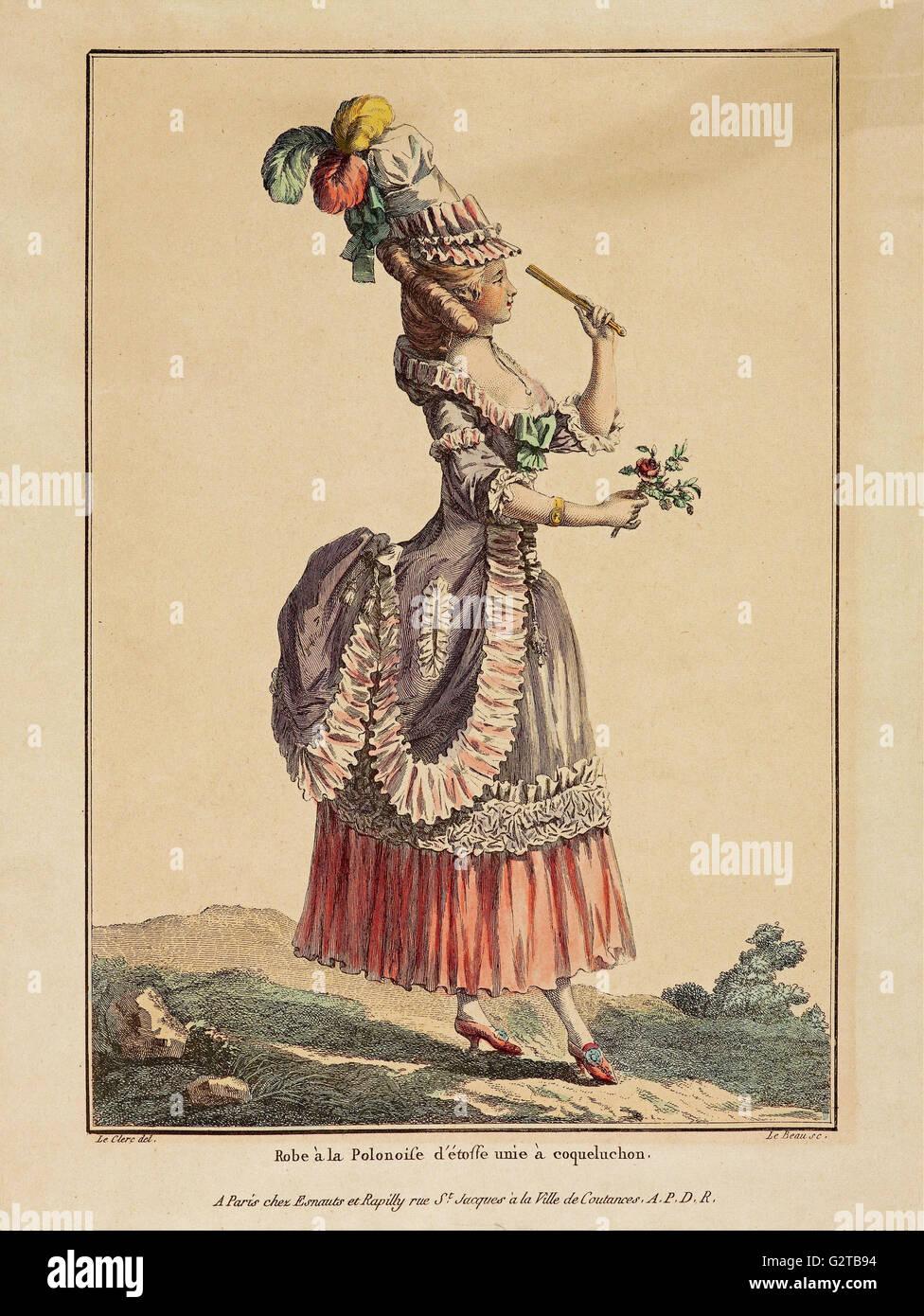 La Gallerie des modes; Le Clerc; Dupin - Gravure couleur d'impression; - une robe Poloniose Photo Stock