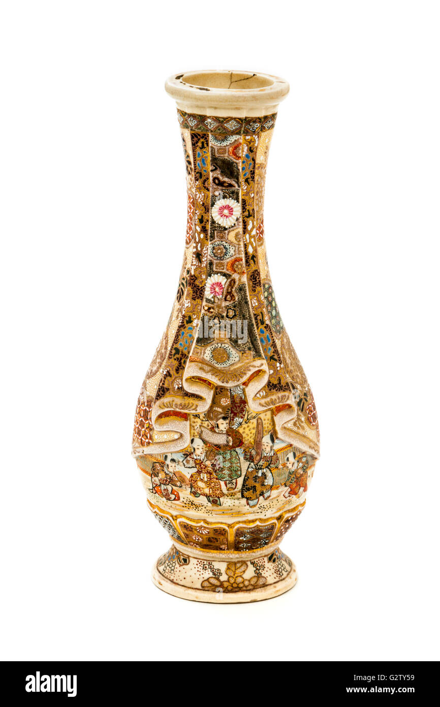 Vase Satsuma japonais antique Banque D'Images