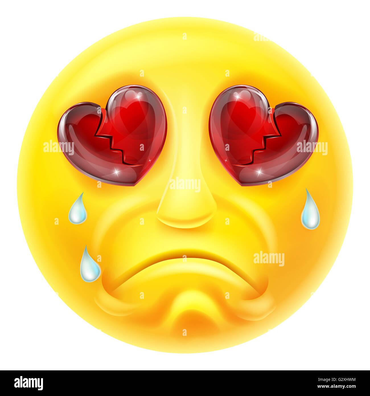 Un Dessin Anime Emoticon Emoji Pleurer Le Cœur Brise Et Caractere