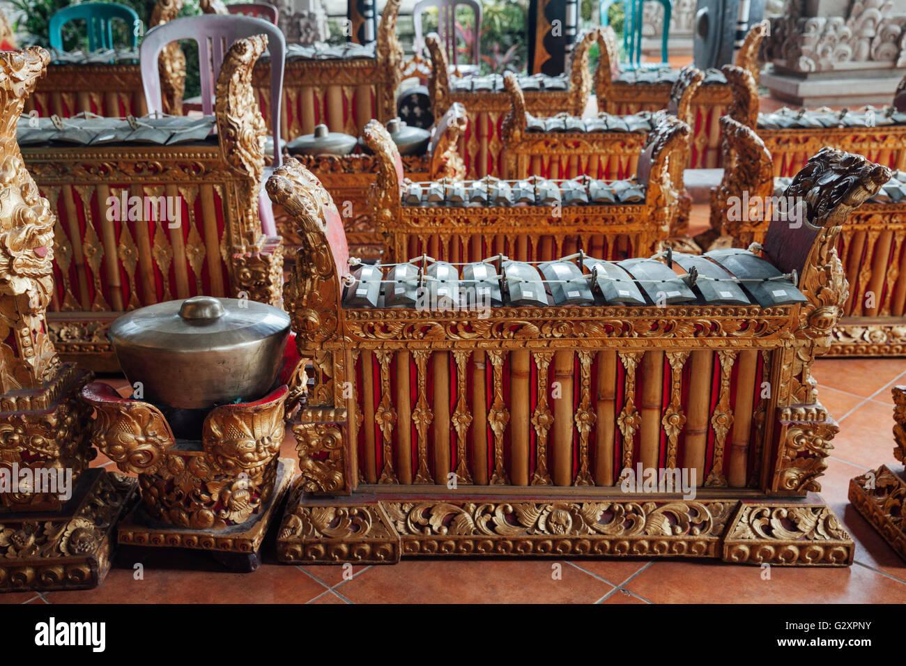 Instruments de musique percussive traditionnelle balinaise 'instruments de gamelan' musique d'ensemble, Photo Stock