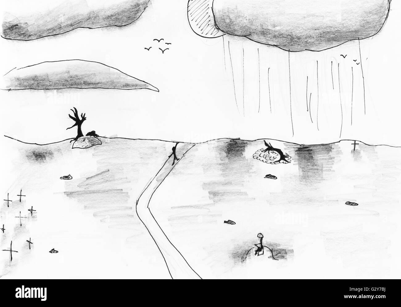Dessin Denfant Noir Et Blanc Paysage De Terre Dévastée
