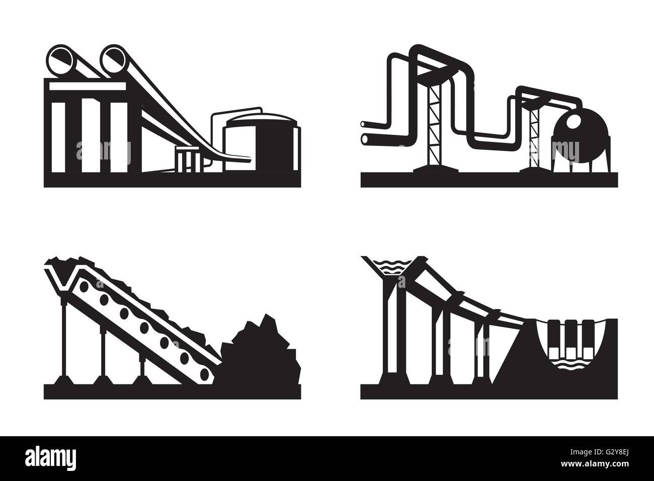Des entrepôts de ressources naturelles - vector illustration Photo Stock