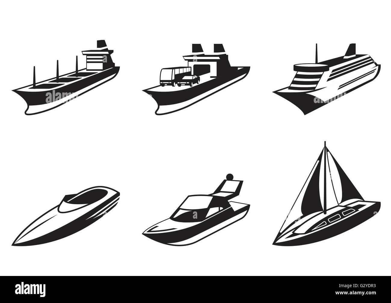 Navires et bateaux de mer en perspective - vector illustration Photo Stock
