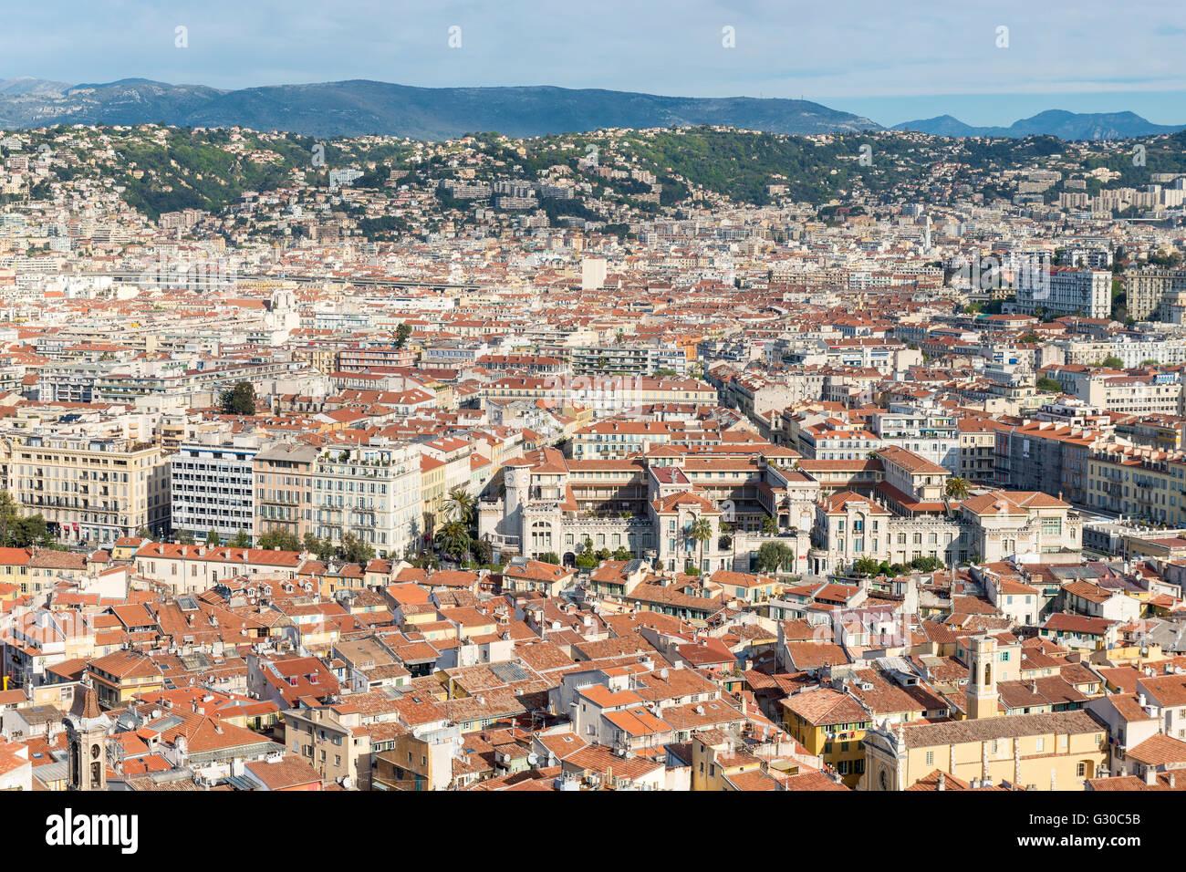 Cityscape vue sur l'horizon sur la ville de Nice, Alpes Maritimes, Provence, Côte d'Azur, d'Azur, Photo Stock