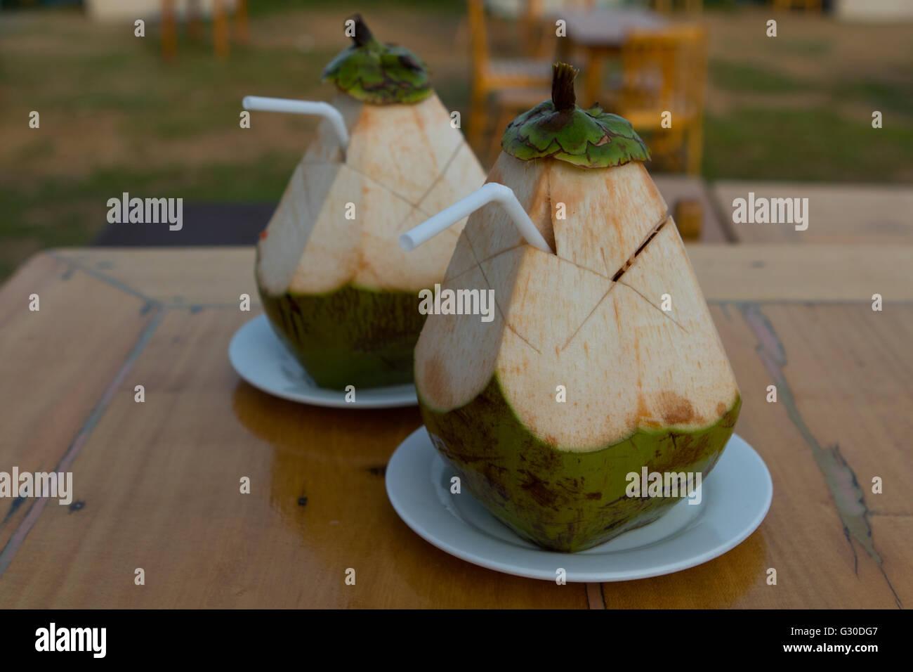 Les jeunes cocotiers fournissent une boisson hydratante rafraîchissante dans les endroits où elles sont récoltées Banque D'Images