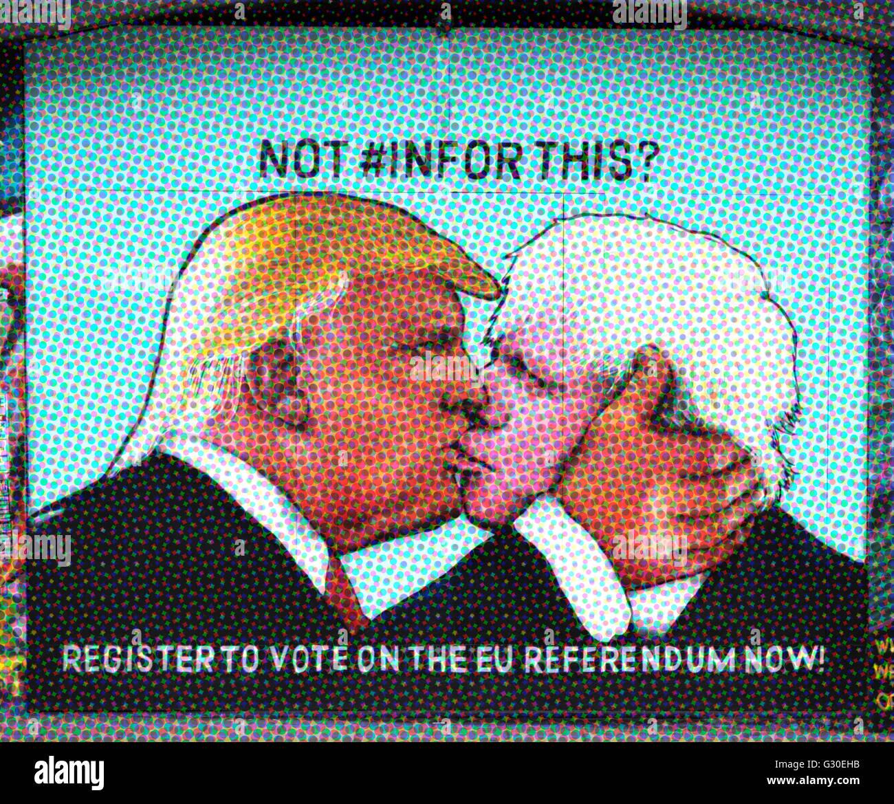 Street art à Bristol montrant Donald Trump embrassant Boris Johnson, d'encourager les gens à voter Photo Stock