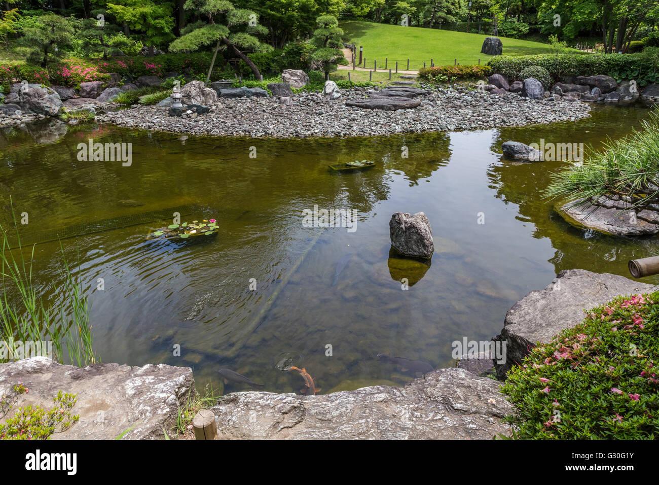 Hanahata est une communauté jardin jardin japonais d'Adachi-ku Tokyo. Bien que sa formation est relativement Photo Stock