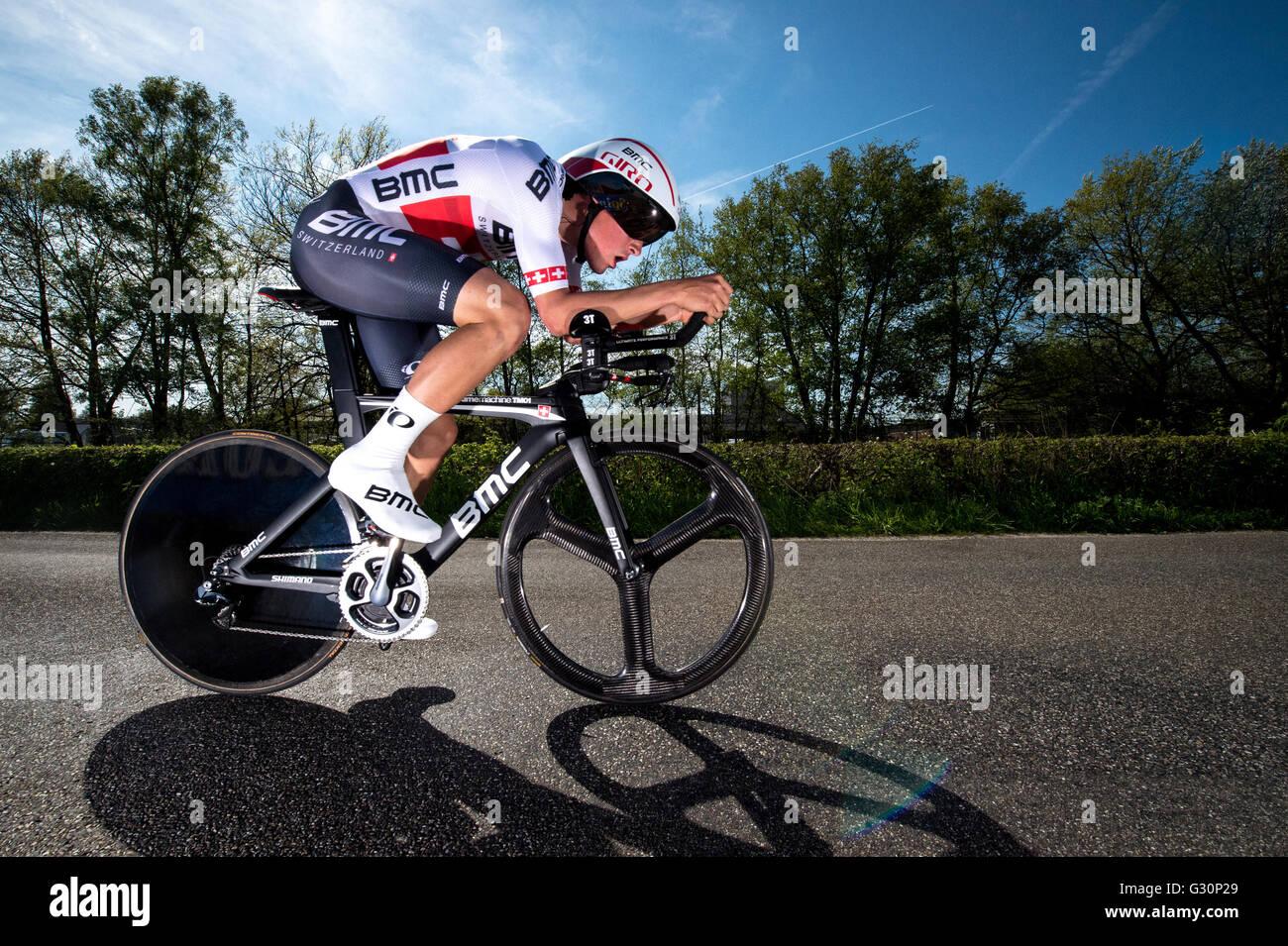 2016 Giro d'Italia. L'étape 1. Contre-la-montre individuel, Apeldoorn. Silvan Dillier (BMC) Photo Stock