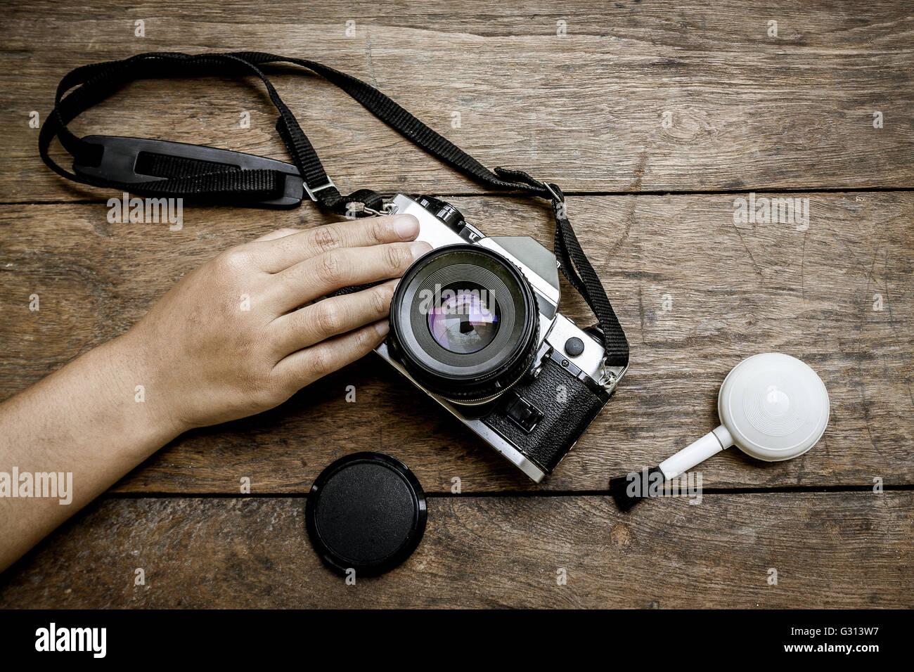En Bois sur l'appareil photo Banque D'Images