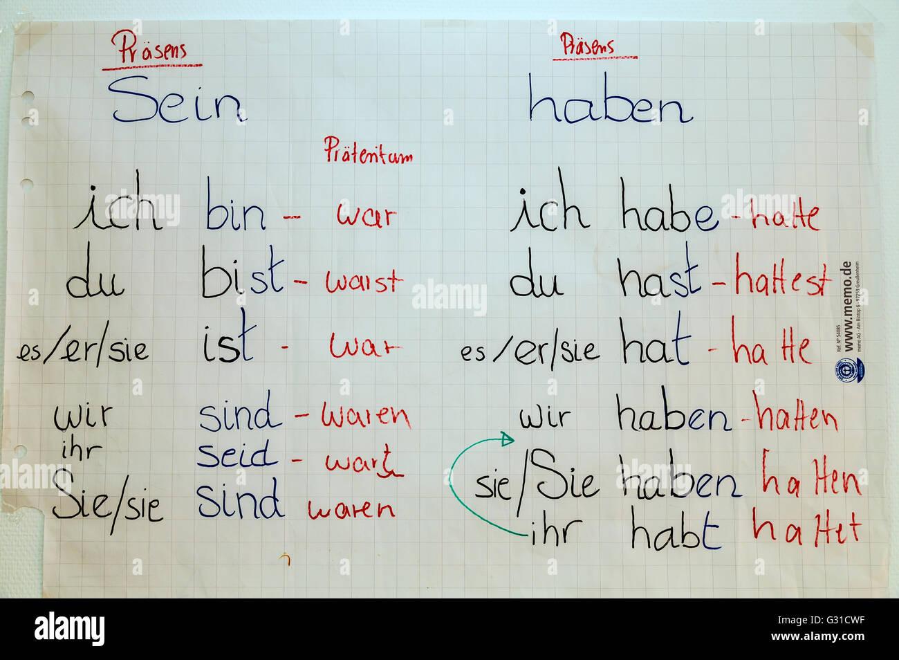 Etre Et Avoir Bremen Allemagne Conjugaison Des Verbes Photo Stock Alamy