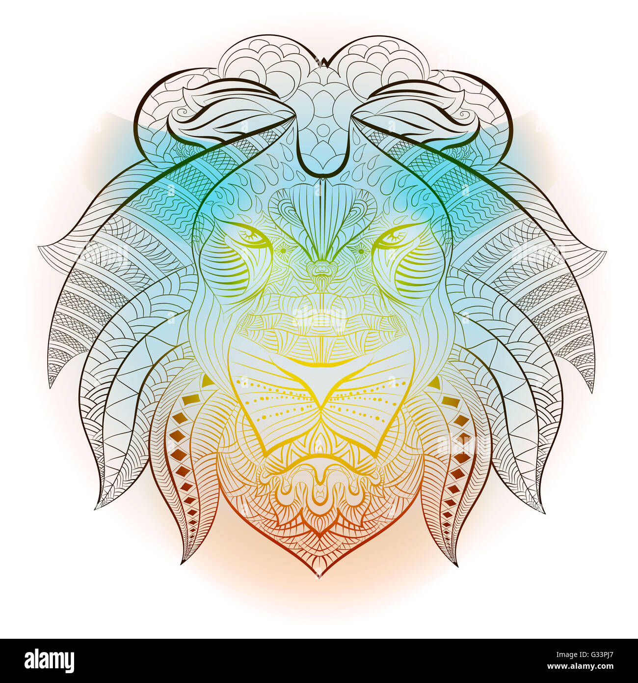 Ethnique Tribal Lion Animal Conception Et Dessin Tatouage Totem