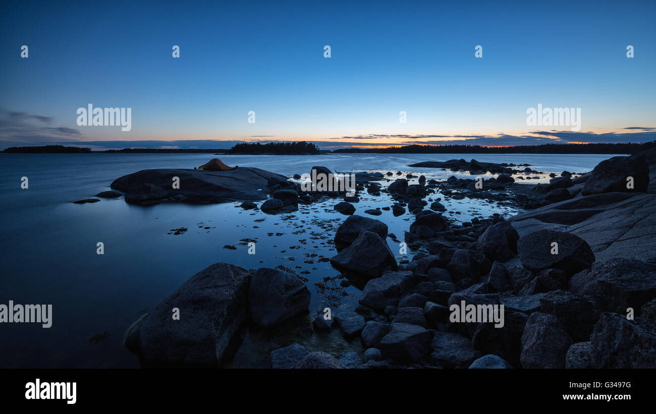 Nuit à l'île de l'ONAS, Porvoo, Finlande, Europe, UNION EUROPÉENNE Photo Stock