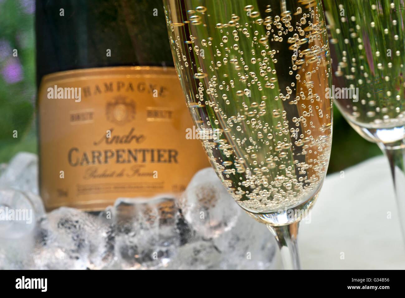 gros plan sur les verres fra chement coul d 39 andr carpentier champagne avec bouteille de vin. Black Bedroom Furniture Sets. Home Design Ideas