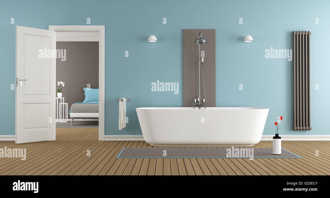 Salle de bains moderne avec une baignoire de la chambre des maîtres ...