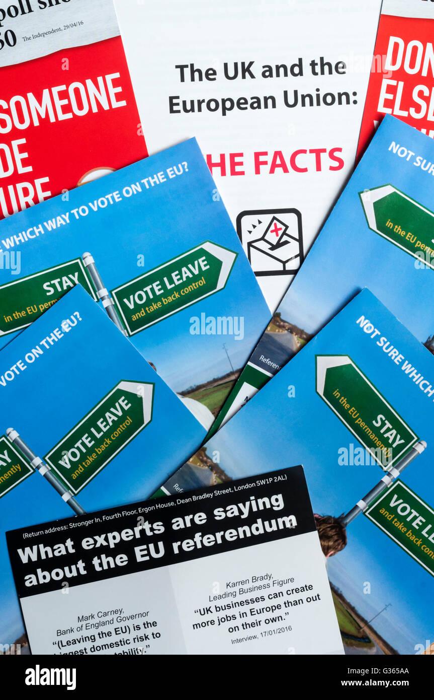 Une sélection de dépliants envoyés à chaque ménage de l'information sur le référendum Photo Stock