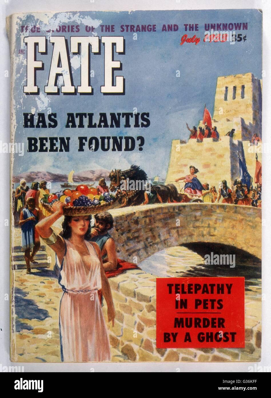 Couvrir de Fate Magazine représentant une vue d'artiste de l'Atlantide Photo Stock