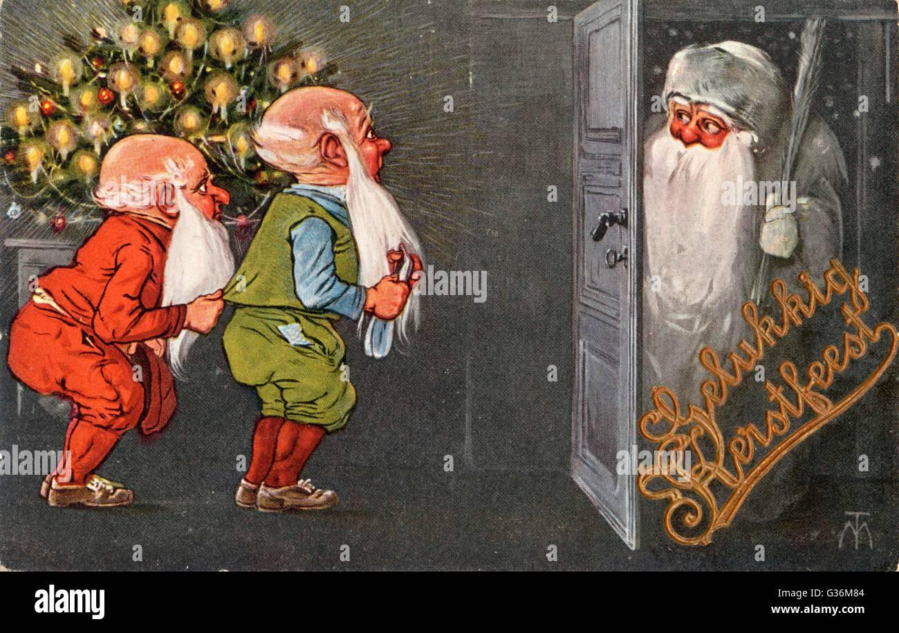 Le père Noël visite les gnomes Photo Stock