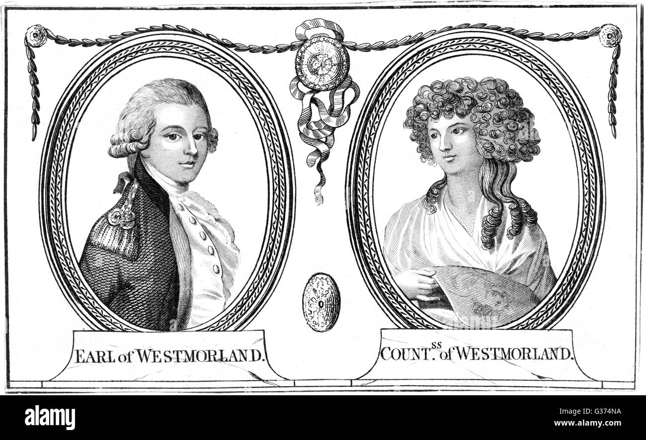 JOHN FANE, dixième comte de Westmorland, homme d'lord-lieutenant d'Irlande, et sa Comtesse Date: 1759 - 1841 Banque D'Images