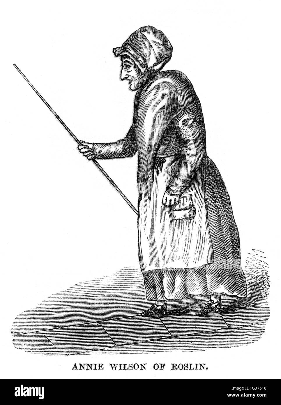 ANNIE WILSON - la femme de l'aubergiste et guide pour la Chapelle de Rosslyn, Édimbourg, où elle perpétue les légendes telles que le pilier de l'Apprenti. Burns a écrit un poème en son honneur. Date: vers 1780 Banque D'Images