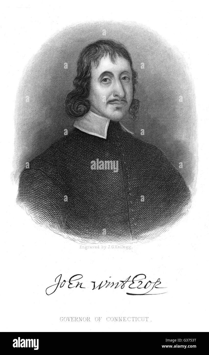 JOHN WINTHROP JEUNE Gouverneur du Connecticut avec son autographe Date: 1606 - 1676 Photo Stock
