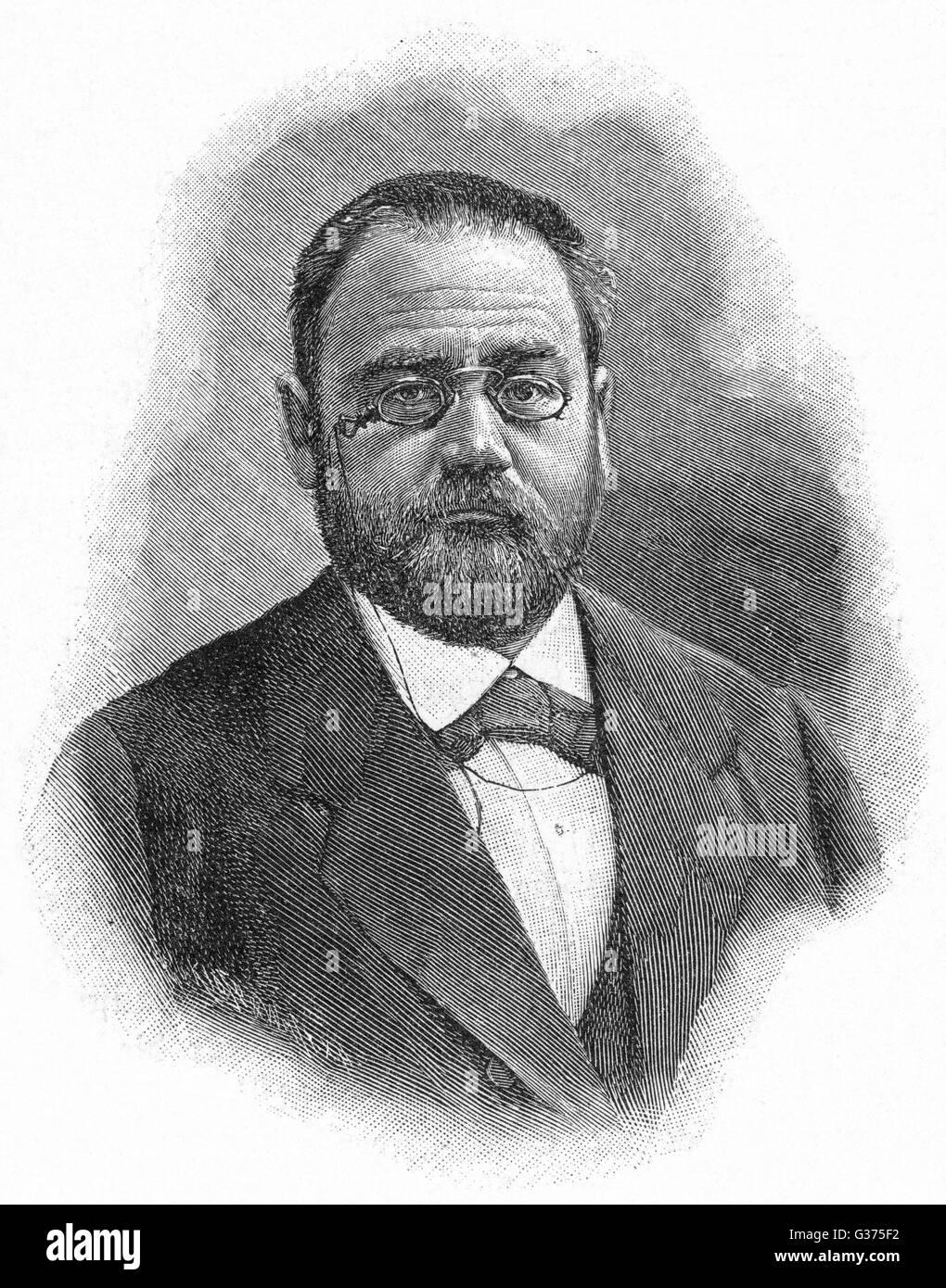 EMILE ZOLA écrivain et défenseur de Dreyfus Date: 1840 - 1902 Photo Stock