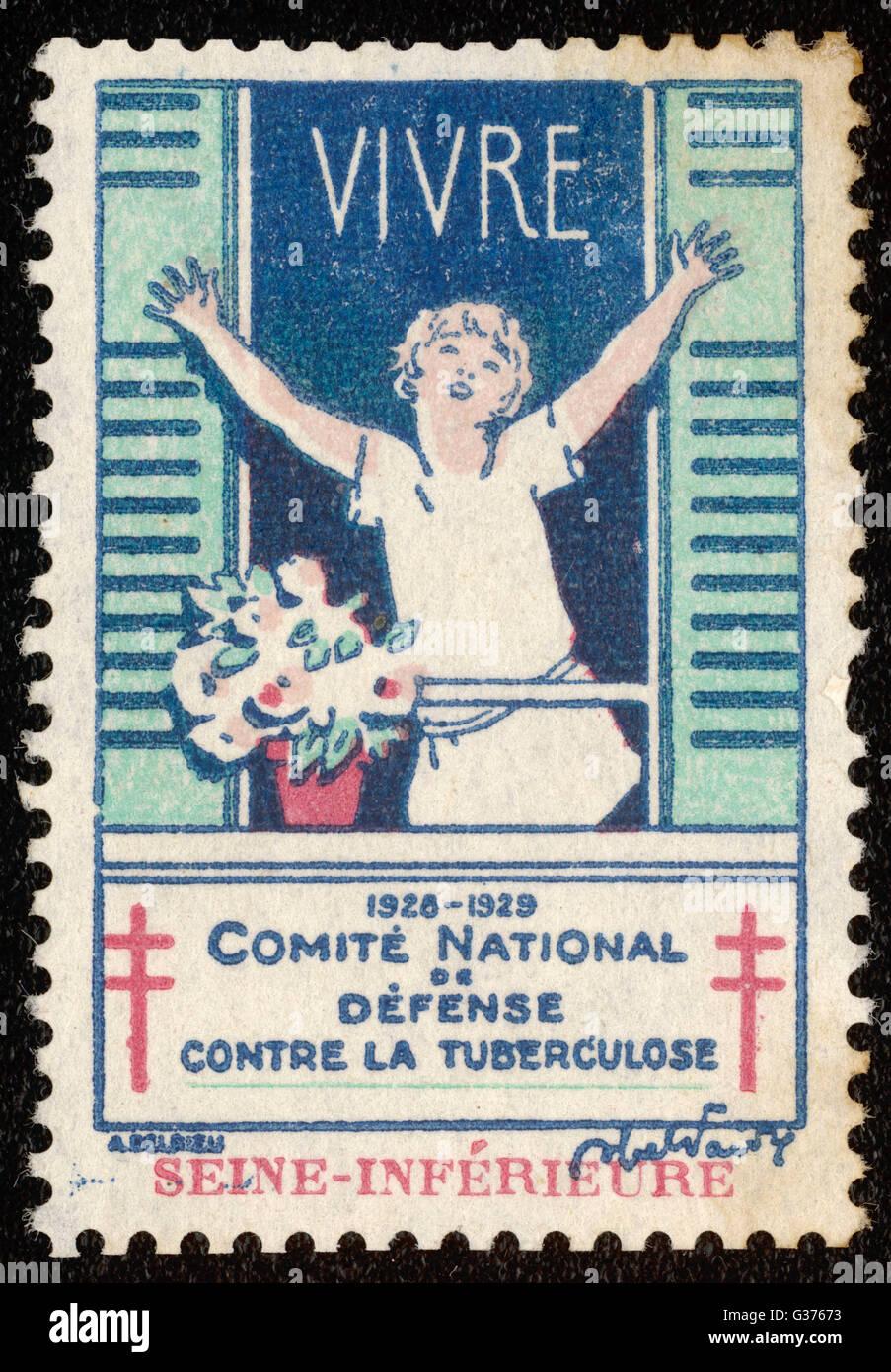 9f0c3f236f Timbre-poste français la promotion de l'air frais et du soleil pour lutter  contre la tuberculose. Date : 1928-1929