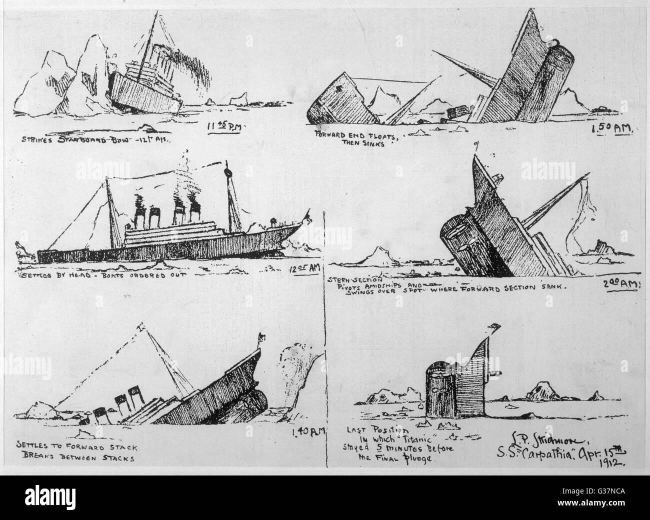Une séquence d'illustrations montrant le naufrage du Titanic, dessiné par John B survivant Thayer Photo Stock