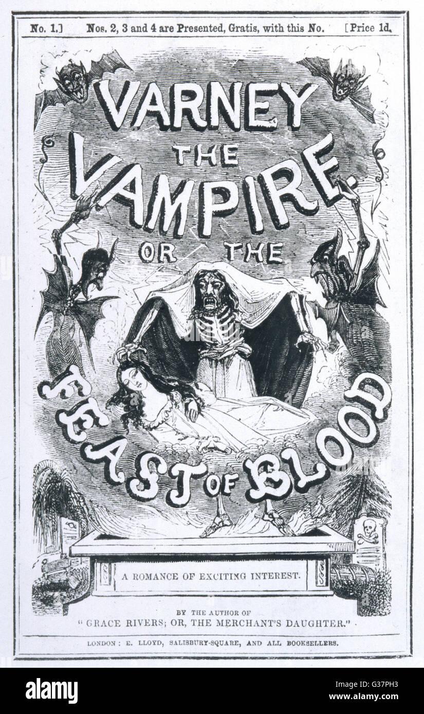 Fiction: 'Varney le Vampire' ou 'la fête de sang' Couverture de livre Photo Stock