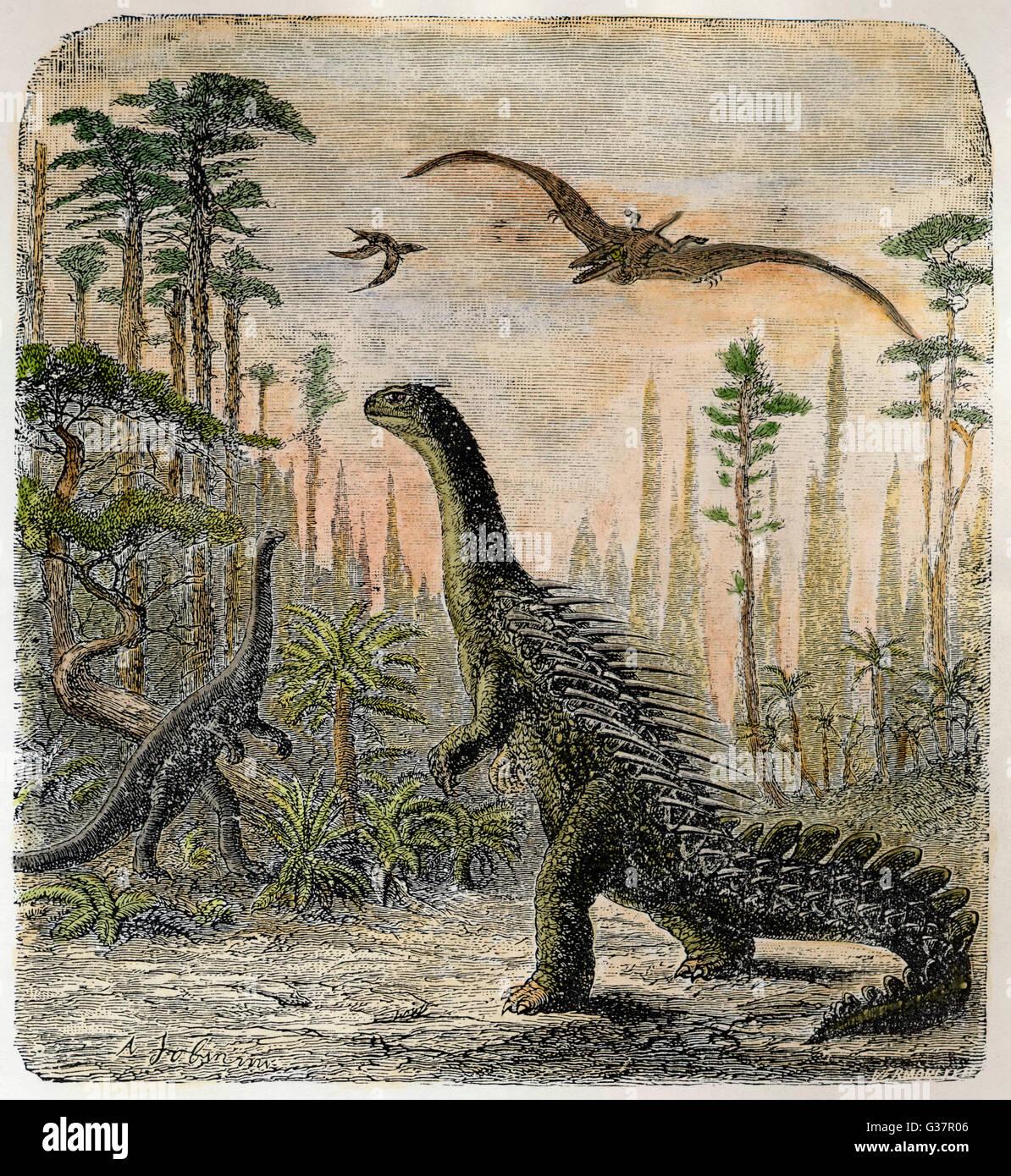 Les dinosaures du Jurassique: un stégosaure, avec un Compsognathus dans l'arrière-plan Banque D'Images