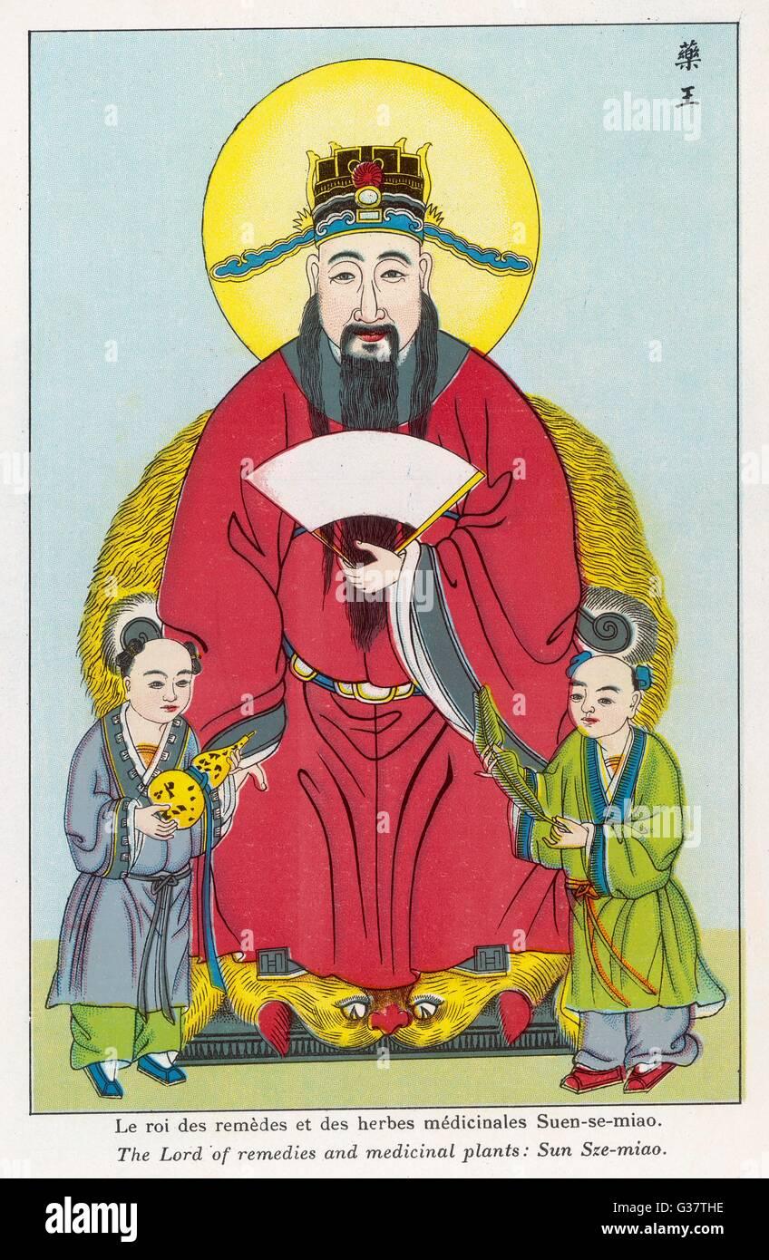 La divinité chinoise SZE SUN-Miao, seigneur de plantes médicinales Date: 1915 Photo Stock