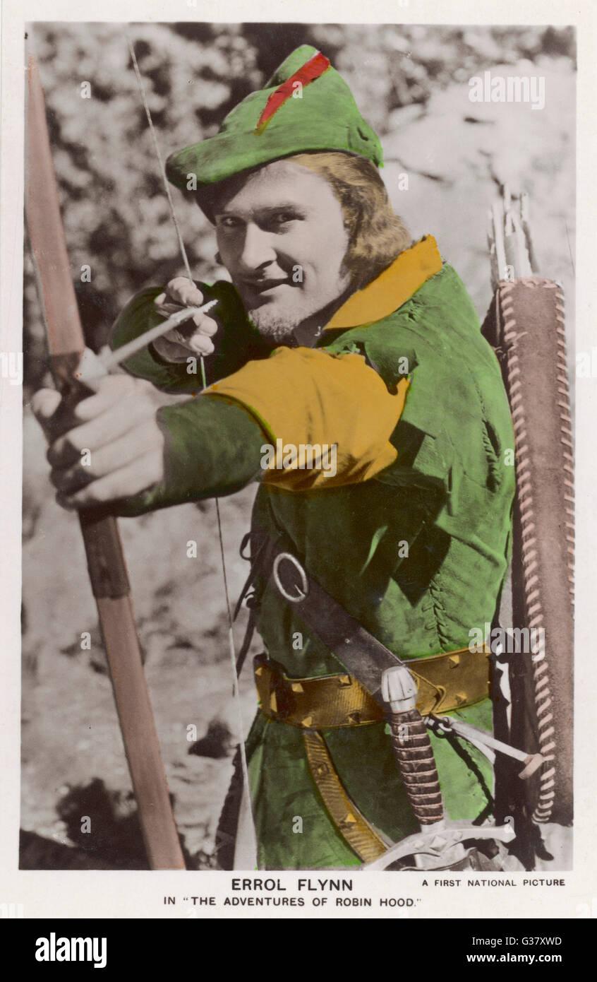 Erroll Flynn dans 'Les aventures de Robin des bois', 1938. Photo Stock
