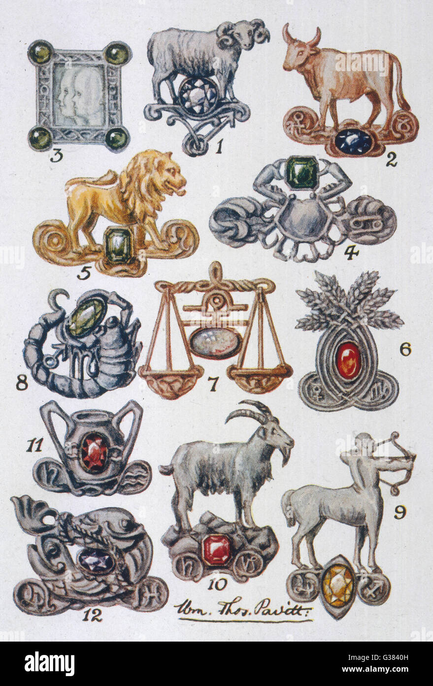 Symboles de la douze maisons Date: 1914 Photo Stock