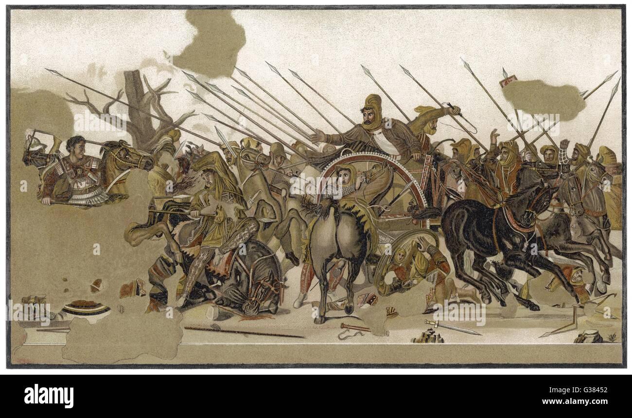 À Issos (près de Iskanderun en Turquie) Alexander imprimer une vaste horde de mercenaires et le lys, la Photo Stock