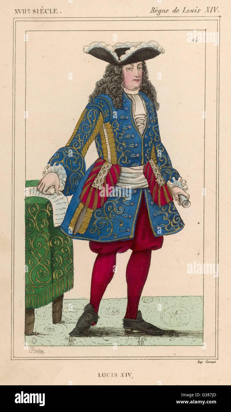 LOUIS XIV monarque français (photo datée 1697) Date: 1638 - 1715 Photo Stock