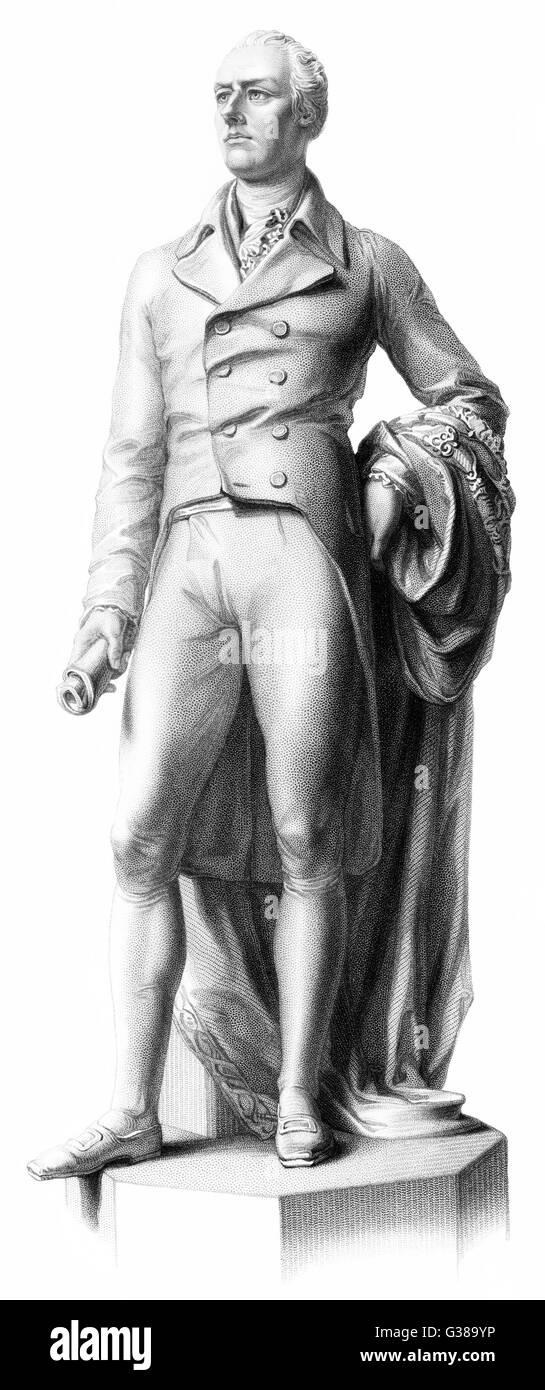WILLIAM PITT Le jeune politicien anglais une statue Date: 1759 - 1806 Photo Stock
