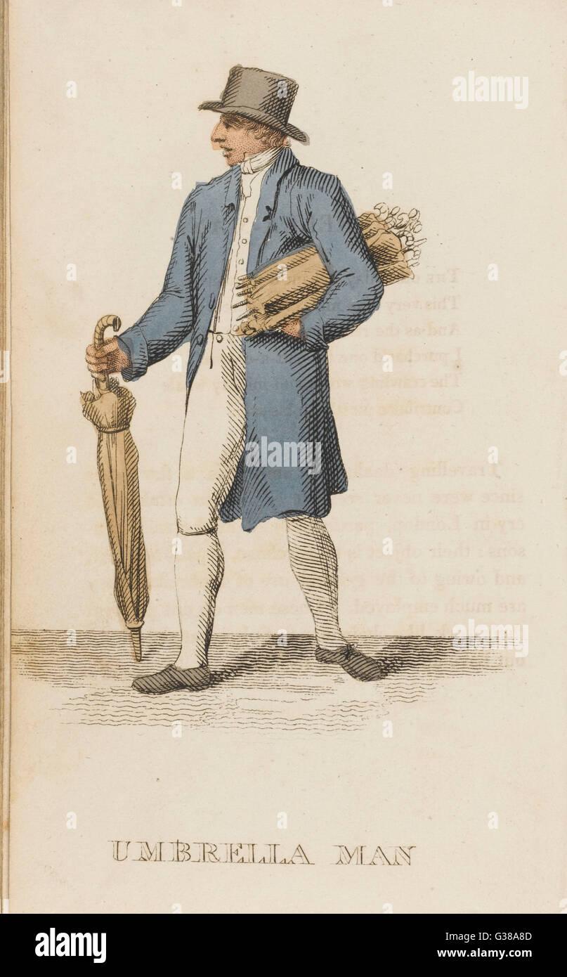 L'umbrella man qui achète, vend et répare des parasols. Date: 1823 Photo Stock