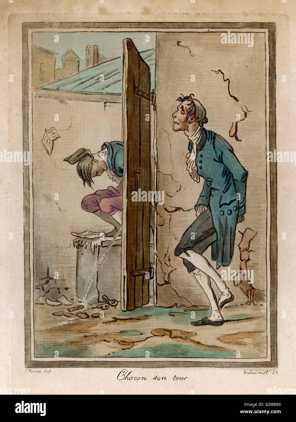 'CHACUN SON TOUR' (chacun a son tour) Date: vers 1820 Photo Stock