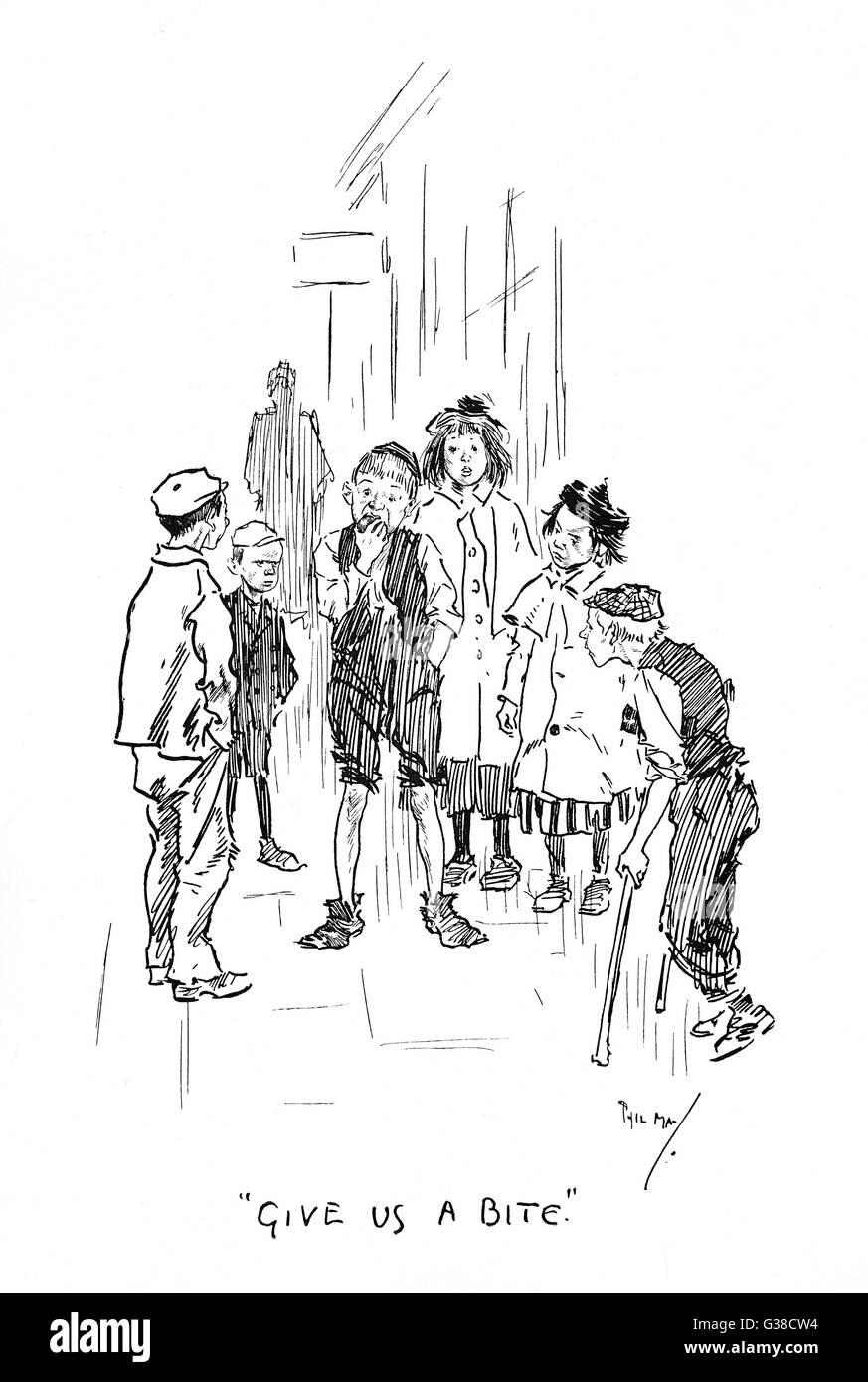 """Les Arabes de la rue - """"donnez-nous une morsure' Date: 1896 Photo Stock"""