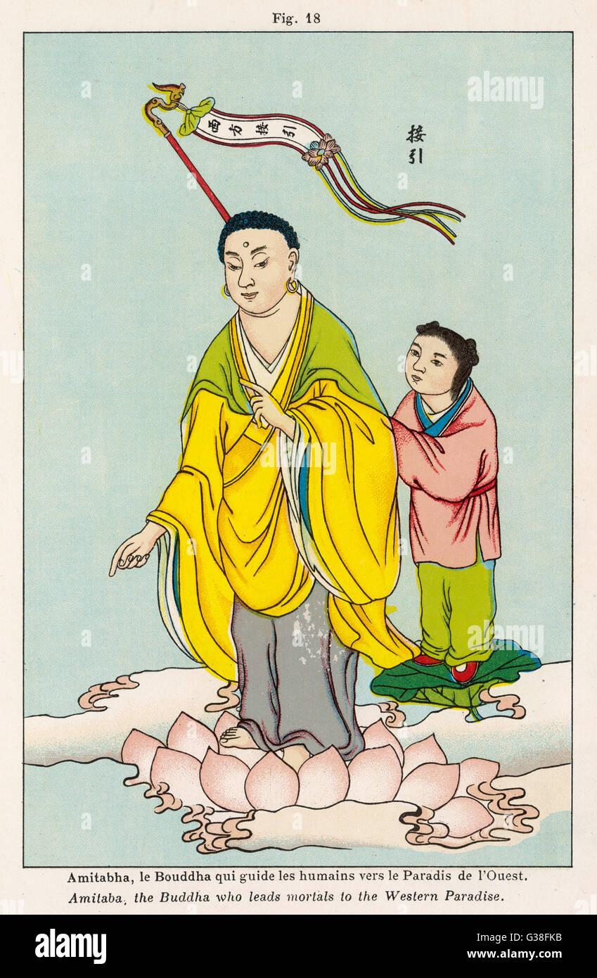 AMITABHA, le Bouddha qui guide l'homme vers le paradis de l'Ouest Photo Stock