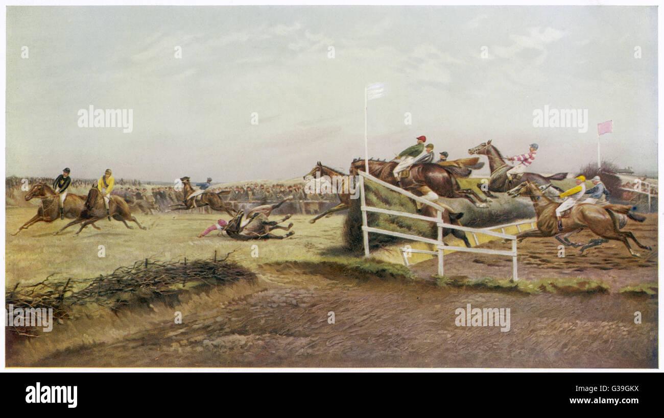 Un cheval se couche à son tour le Canal Date: 1912 Photo Stock