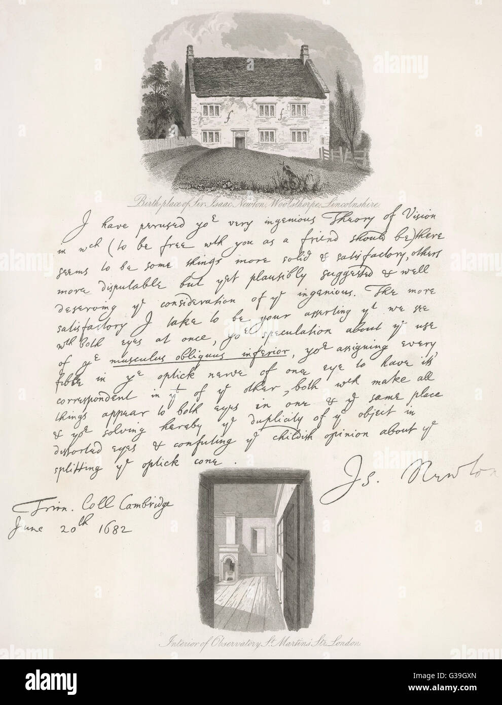 Lettre de l'anglais, en date du 20 juin 1682, de Trinity College, Cambridge, discuter de la théorie d'un Photo Stock