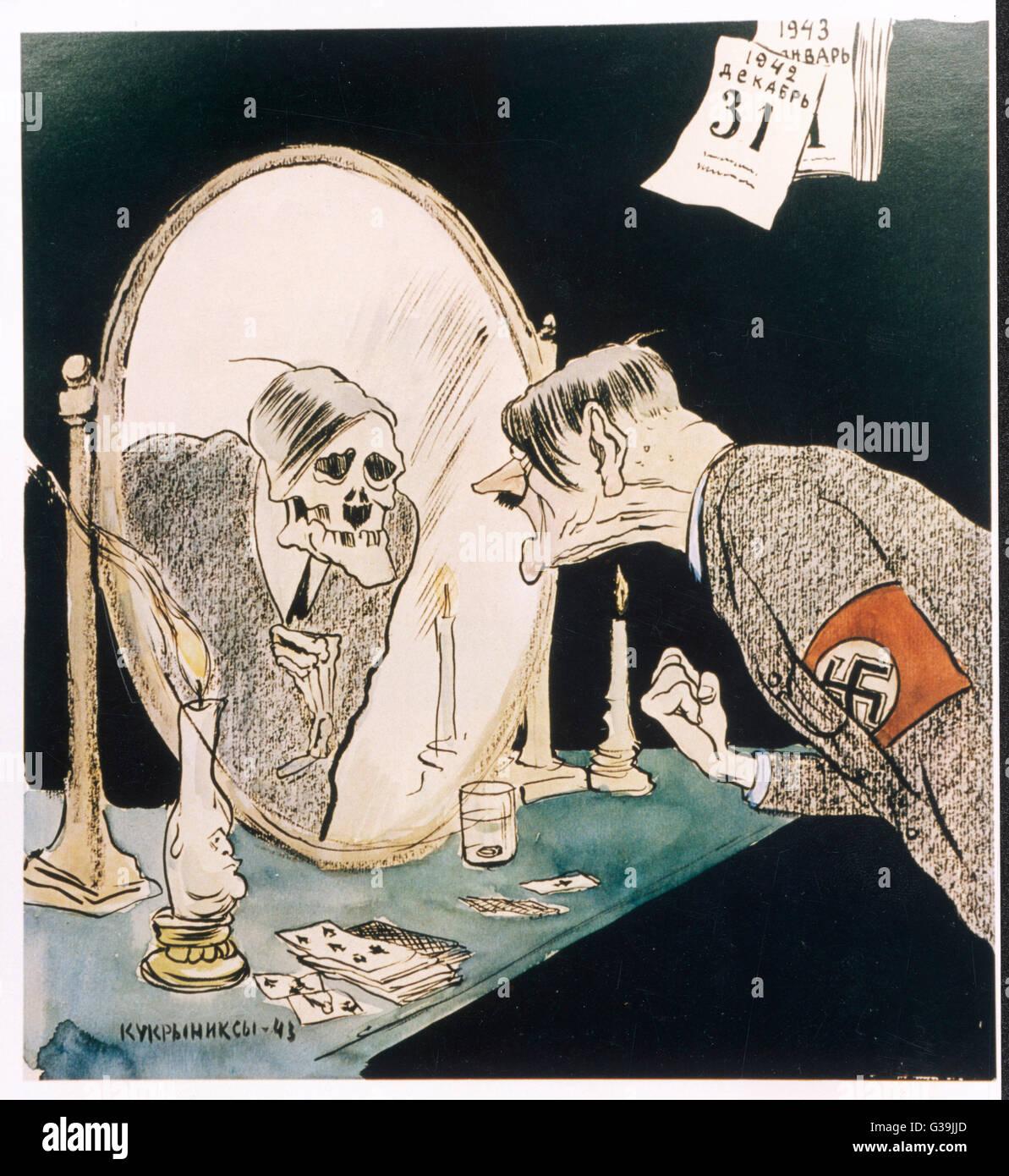 ADOLF HITLER Le calendrier sur le mur, daté de décembre 1942, Hitler fixe dans sa réflexion squelettique Photo Stock