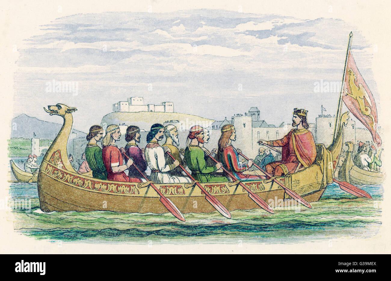 Edgar est ramé onn l Dee par huit rois de démontrer sa suzeraineté et prétentions impériales. Photo Stock