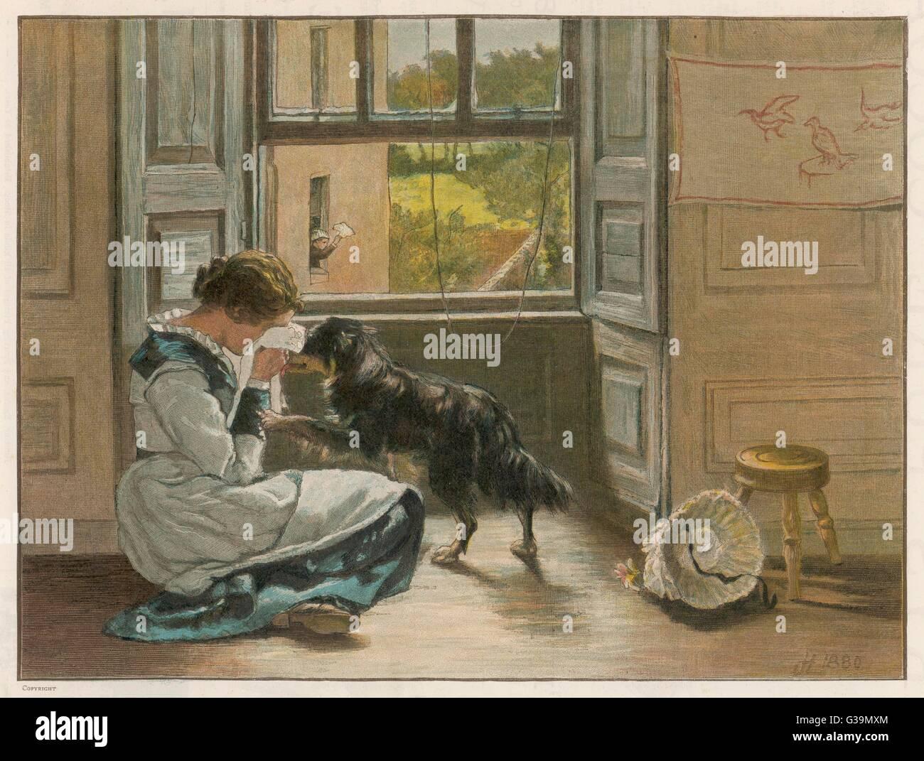 Une jeune fille en pleurs attire la sympathie de son chien Date: 1886 Photo Stock