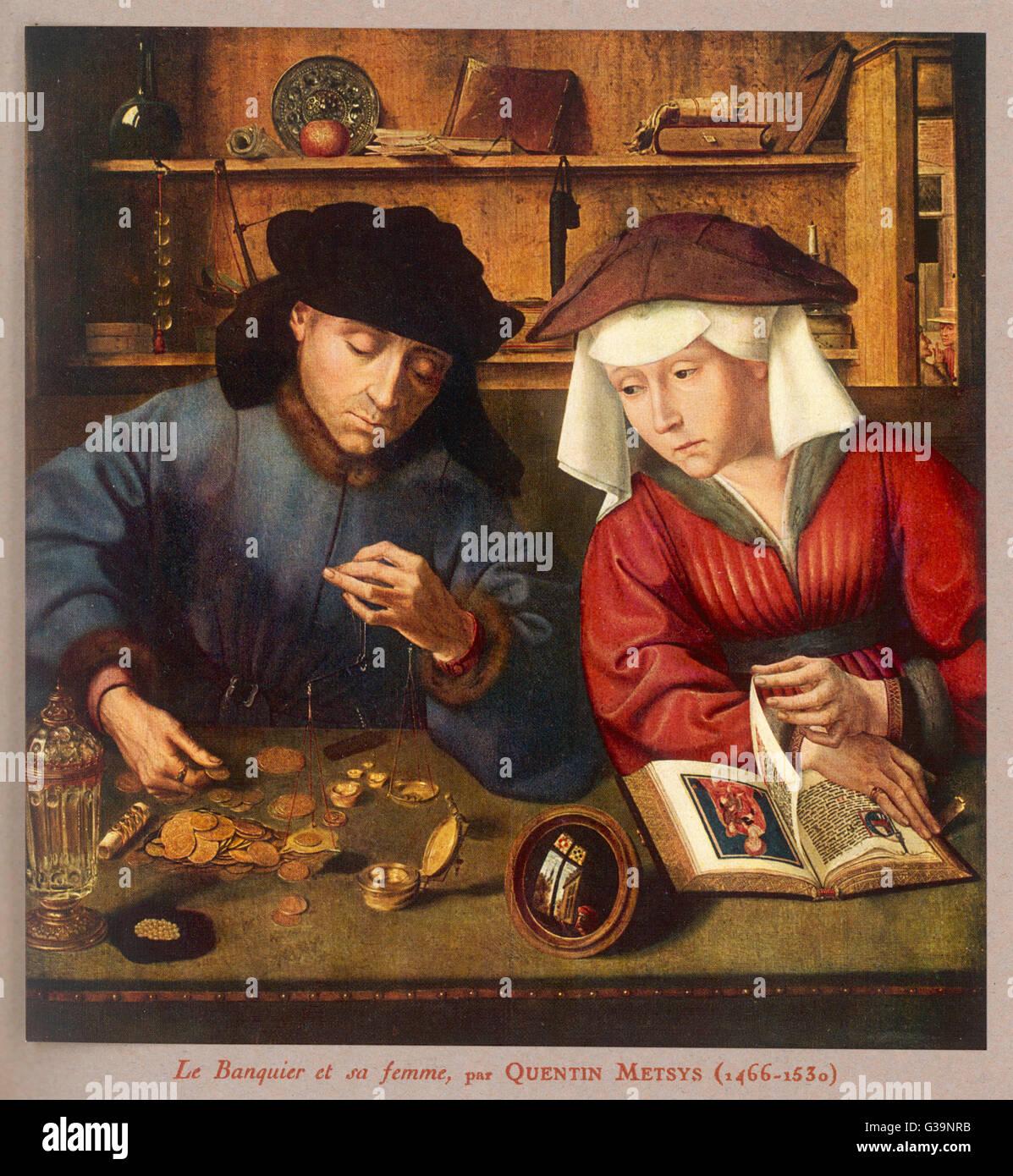 Un banquier du siècle 15-16, avec sa femme Photo Stock