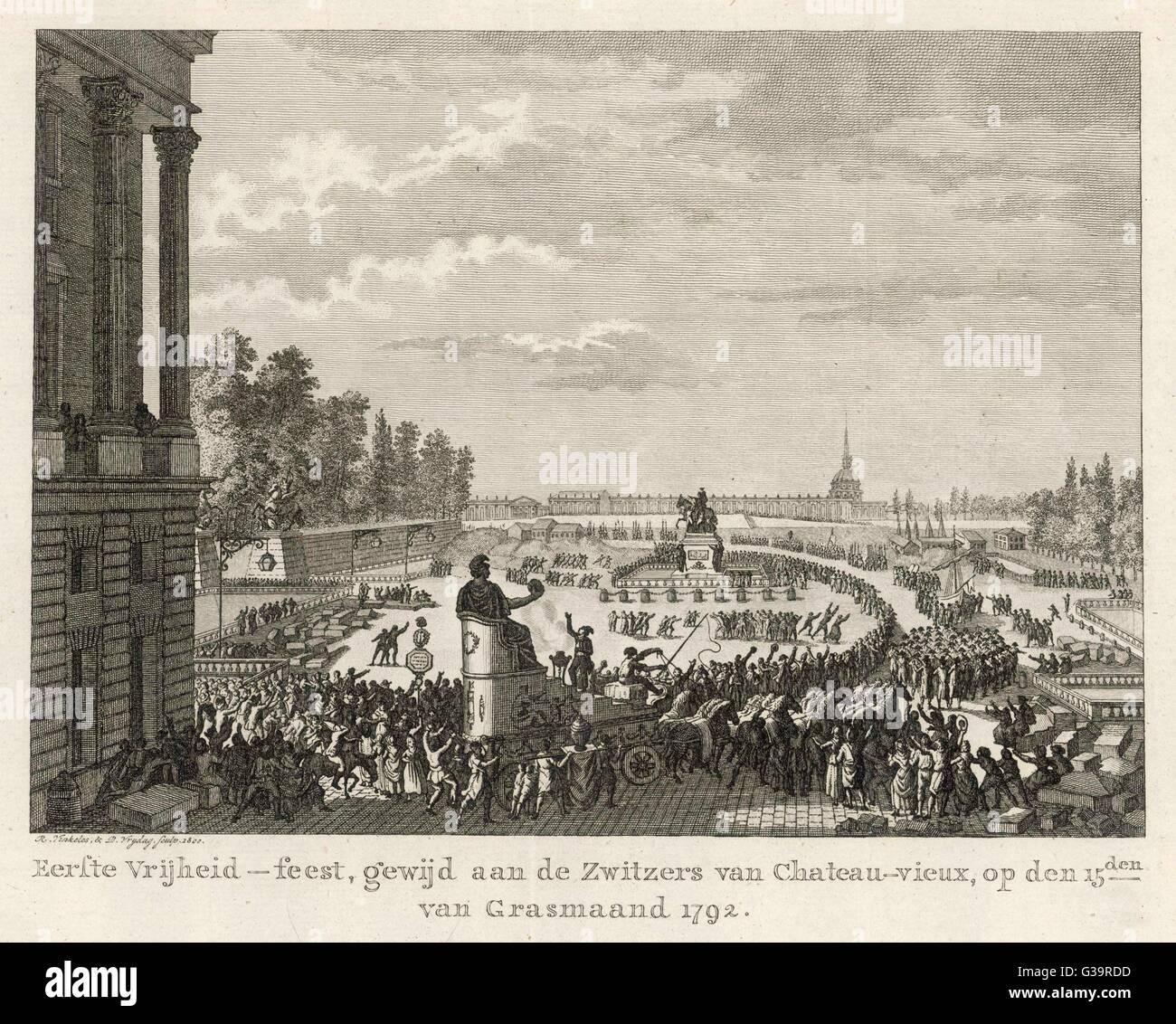 Le Festival de la liberté. Date: 15 avril 1792 Photo Stock